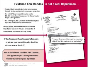 Back of 2004 campaign mailer exposing Ken Maddox's support for the Orange County Project Labor Agreement.